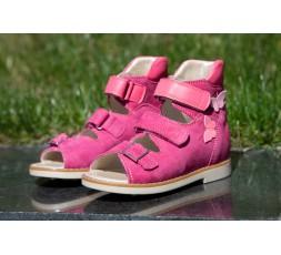 """Босоніжки """"Хайді"""" ортопедичні для дівчаток, рожевий нубук"""