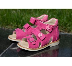 Босоніжки «Аліса» дитячі  профілактичні для дівчаток, рожевий нубук